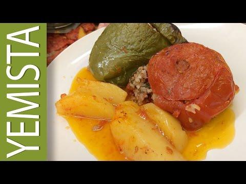 YiaYia's Greek Recipe | YEMISTA (Stuffed Peppers & Tomatoes)