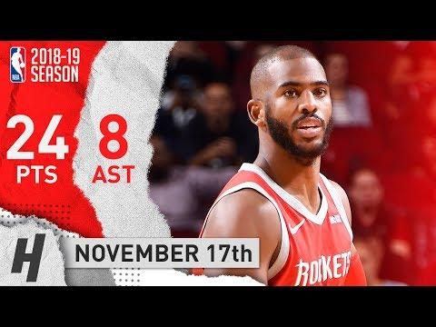Chris Paul Full Highlights Rockets vs Kings 2018.11.17 - 24 Pts, 8 Assists!