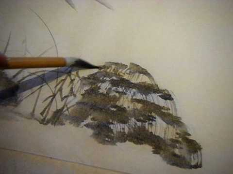 Japanese brush painting: Rocks and grasses (видео)