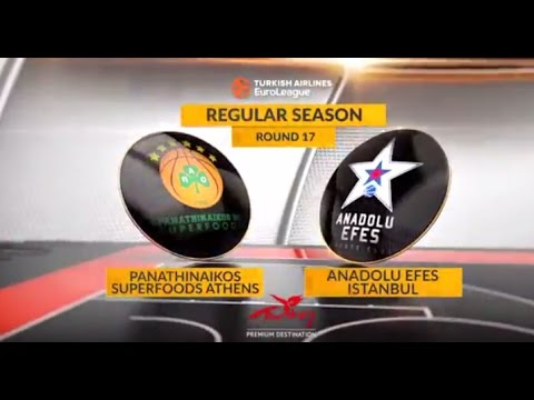 EuroLeague Highlights RS Round 17: Panathinaikos Superfoods Athens 92-81 OT Anadolu Efes Istanbul