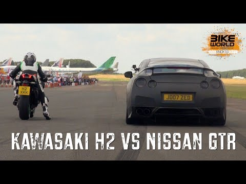 kawasaki h2 vs nissan gtr drag race