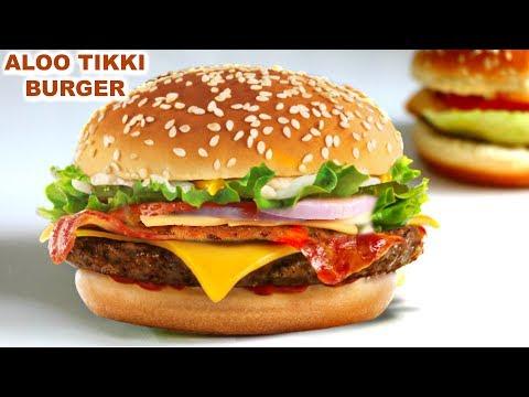 Veg Aloo Tikki Burger in Hindi   वेज आलू टिक्की बर्गर   McDonald Style   CookWithNisha