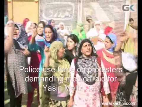 Police use force on protesters demanding medical aid for Yasin Malik