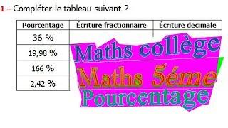 Maths 5ème - Le pourcentage Exercice 5