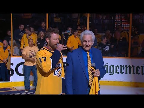 Video: Dierks Bentley & Del McCoury sing Star Spangled Banner for Game 1 against Jets