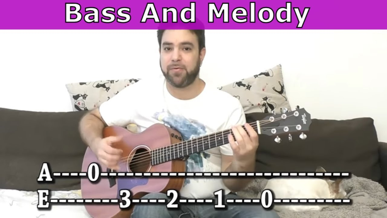 Lesson: Bass-and-Melody Fingerstyle Soloing Exercise For Beginners – Guitar Tutorial w/ TAB