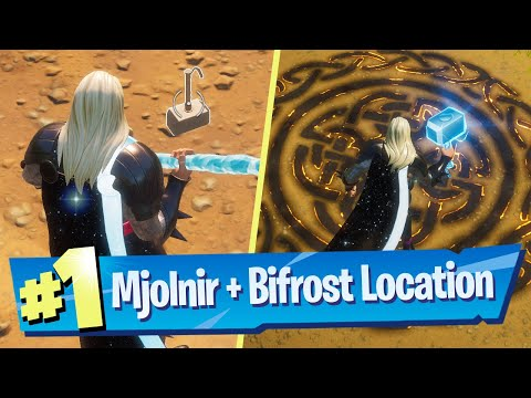 Prove your worth by picking up Mjolnir as Thor & Visit Bifrost Marks as Thor Location - Fortnite