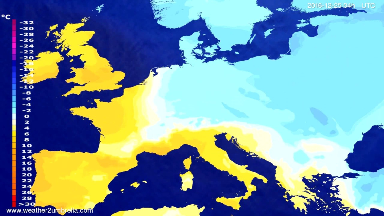 Temperature forecast Europe 2016-12-21