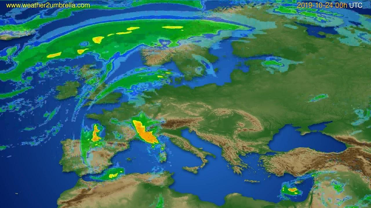 Radar forecast Europe // modelrun: 12h UTC 2019-10-23