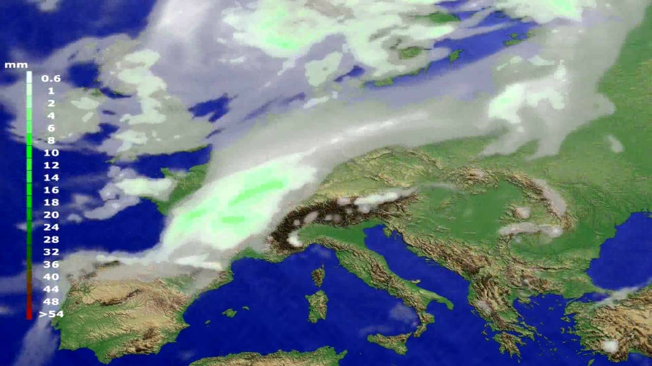 Precipitation forecast Europe 2016-08-02