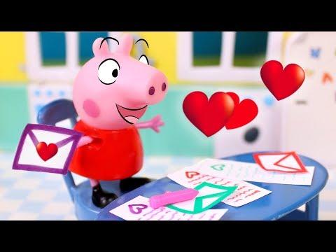 Peppa Pig en español - Peppa Pig en San Valentín  Peppa Pig escribe cartas de amistad a sus amigos