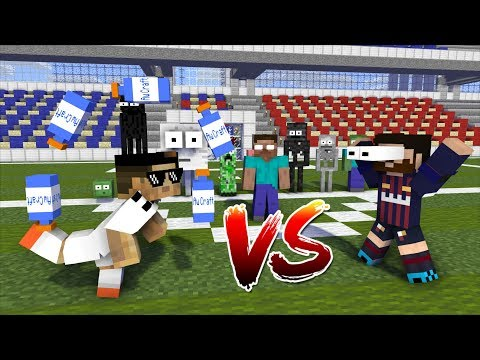 Monster School : Ronaldo vs Messi FOOTBALL CHALLENGES! - Minecraft Animation