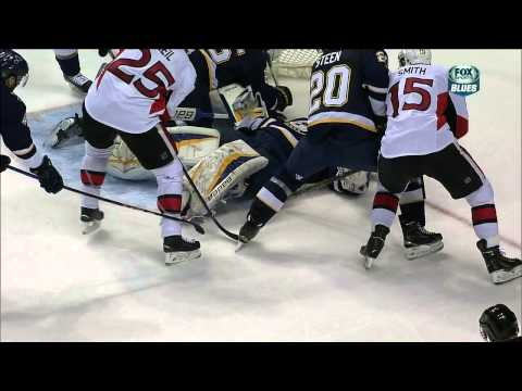 Erik Condra vs  Chris Butler fight Ottawa Senators vs St. Louis Blues Nov 25 2014 NHL
