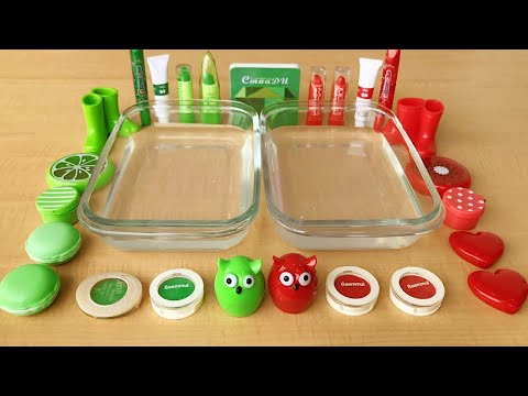 Green Vs Red | Mixing Makeup Eyeshadow Into Clear Slime | Special Series Satisfying Slime 42