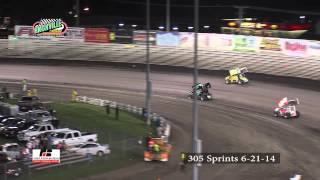 Knoxville Raceway 305 Sprint Car Highlights from 6-21-14