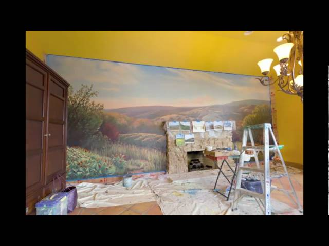 Painting a Landscape Mural Start to Finish - Timelapse Video