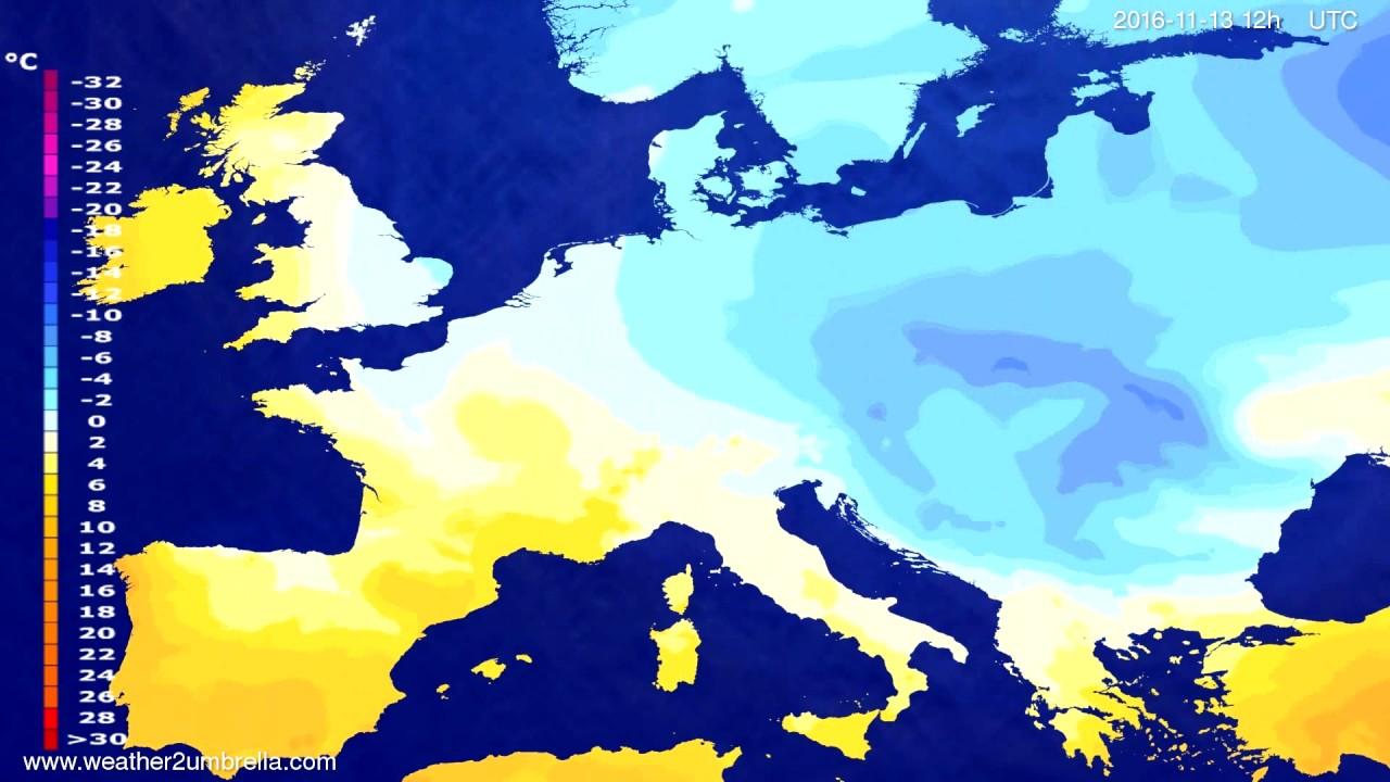 Temperature forecast Europe 2016-11-11