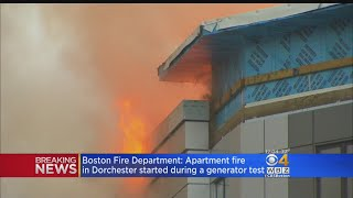 Boston Fire Department officials announced that a massive fire that ripped through Dorchester's expansive Treadmark Building last month started when a heat source was too close to combustible materials during the testing of an emergency generator. WBZ-TV's Bill Shields reports.