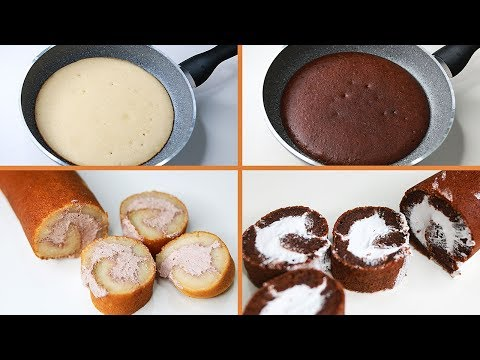 Roll Cake In Fry Pan | With Egg / Eggless & Without Oven | Fry Pan Roll Cake | Pan Roll Cake | Yummy