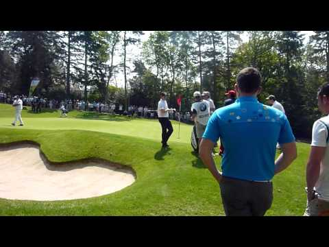 Rory McIlroy with a nice chip at the BMW Wentworth Pro-AM