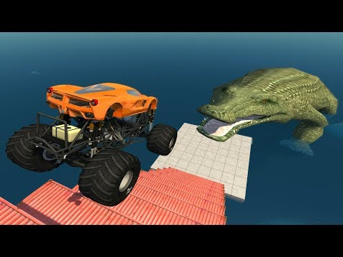 Jumping Crashes&Deadly Fall from the Stairs - Beamng drive (Giant Crocodile)