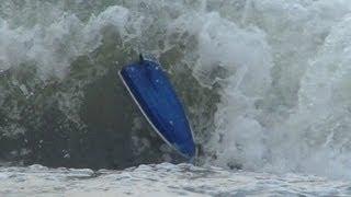 Motor Boat Crashes In Surf