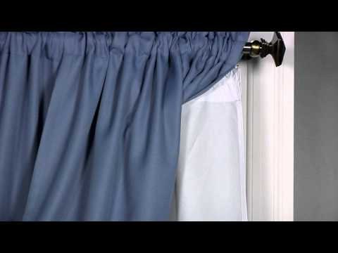 Video for Thermaliner White 80-Inch Long Blackout Window Curtain Pair