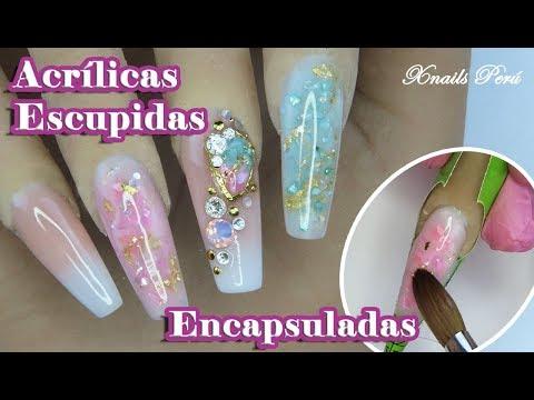 Uñas acrilicas - Uñas Acrílicas ESCULPIDAS y ENCAPSULADAS con GEMA FALSA/ Xnails Peru