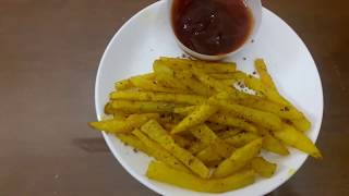 French  Fries using Microwave Oven less oil recipe(with subtitles) / ஃப்ரெஞ்ச் ஃப்ரை