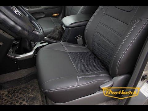 """Чехлы на Toyota Prado 120, серии """"Premium"""" - серая строчка"""