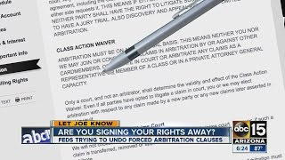 Feds are trying to undo forced arbitration clauses. ◂ ABC15 is your destination for Arizona breaking news, weather, traffic, streaming video and in-depth cov...