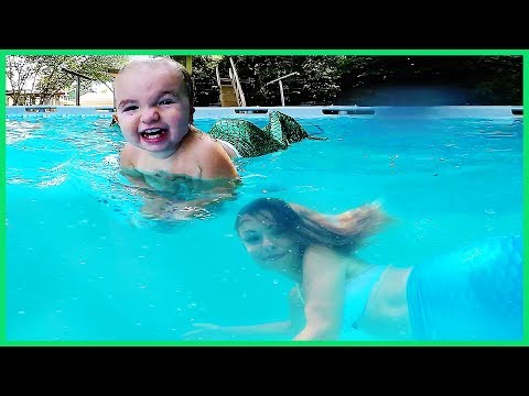 Baby And Mommy Mermaid In Swimming Pool Senacampbel4