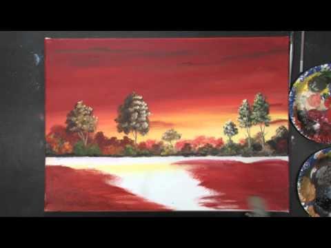 Acrylmalerei – Sonnenuntergang mit Dietmanns Maltechnik