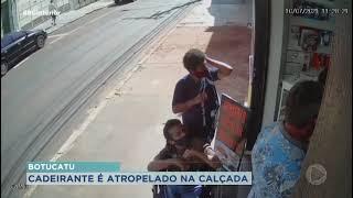 Botucatu: moto perde o controle e atropela cadeirante e pedestre na calçada