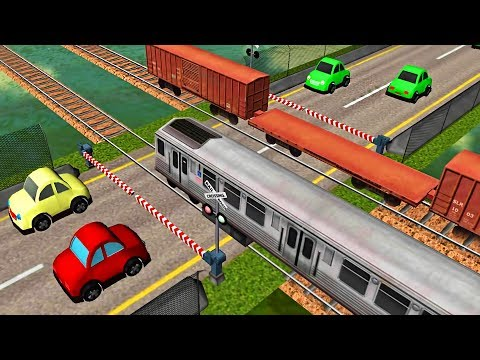 Cars and Trains Cartoon   Train videos for kids   Railroad Crossing   Local Train Game for baby #1