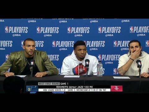 Donovan Mitchell, Rudy Gobert & Ricky Rubio Postgame Interview Rockets vs Jazz Game 1