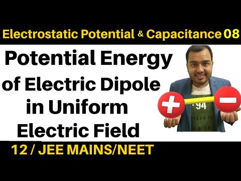 Electrostatic Potential And  Capacitance 08 : Potential Energy Of Electric Dipole In Uniform Field