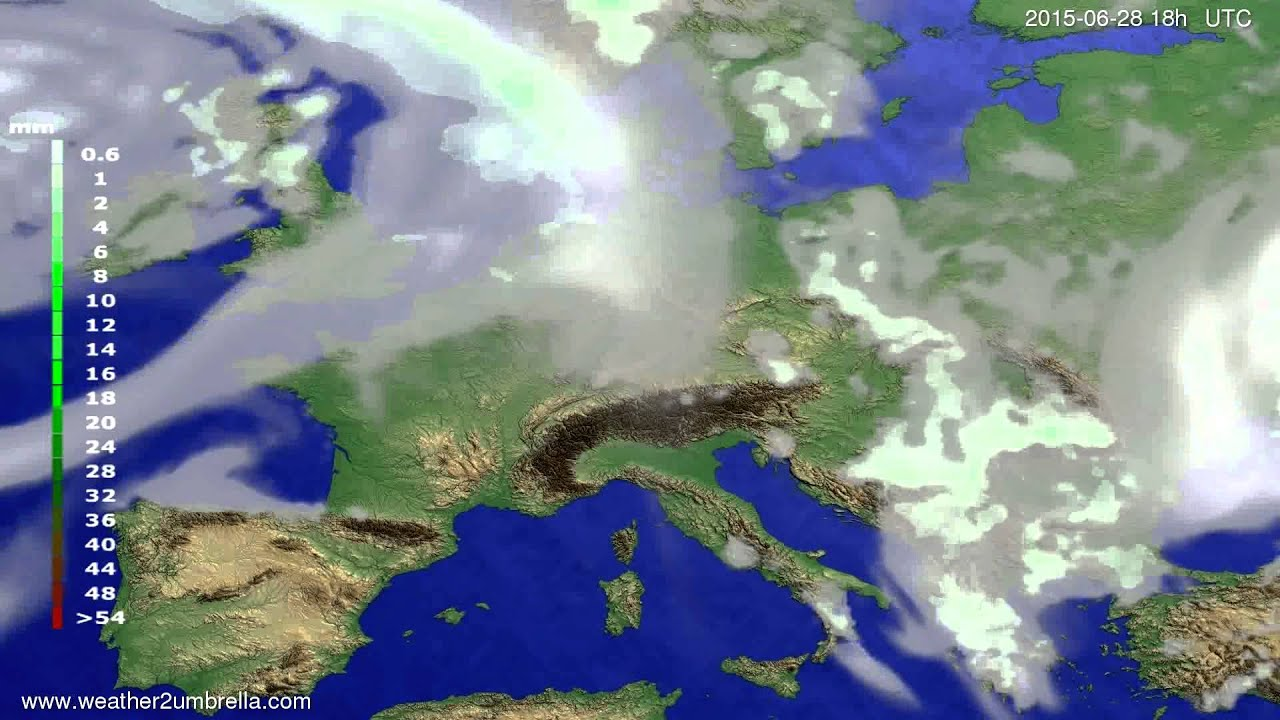 Precipitation forecast Europe 2015-06-26