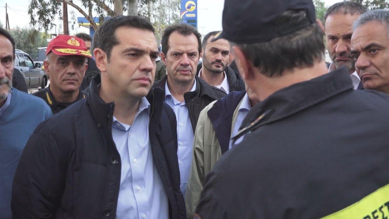 Ο πρωθυπουργός Αλέξης Τσίπρας επισκέπτεται τις πληγείσες περιοχές από την θεομηνία