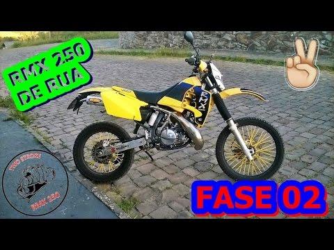 SUZUKI RMX 250 de rua, CARBURAÇÃO AFINADA, detalhes da moto, FMF GOLD POWERCORE!!!