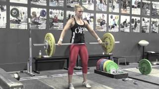 Chelsea clean + jerk + front squat + jerk, Danielle snatch, Steve power clean + clean + jerk, Audra back squat, Audra high-hang snatch, Steve block clean pull with commentary by team coach Greg Everett.
