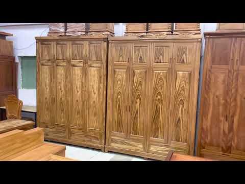 Báo giá mẫu tủ áo gỗ Hương Xám 4 cánh 2 tầng | chi tiết