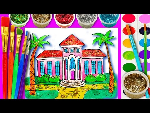 How To Draw and Paint Barbie Dream House with Water Color, Teaching Drawing for Kids