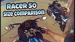 TAO TAO Racer 50 size comparison  to sports  bikes