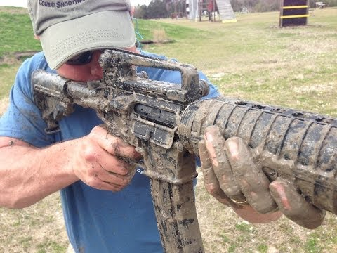 """Gun Bullies"" fire an AR-15 straight out of mud"