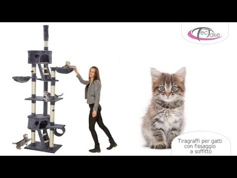 TecTake - Tiragraffi per gatti con fissaggio a soffitto