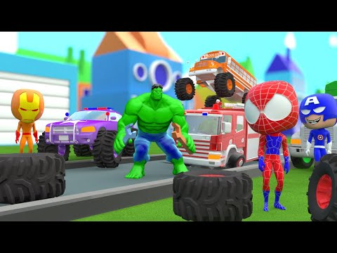Superheroes Garage fixing Monster Truck  Water Slide Colors for Kids Nursery Rhymes for Children