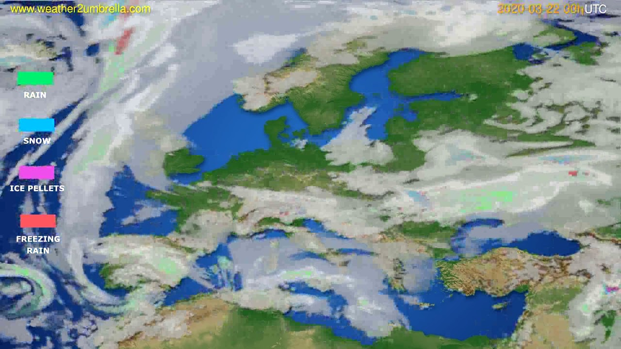 Precipitation forecast Europe // modelrun: 00h UTC 2020-03-21
