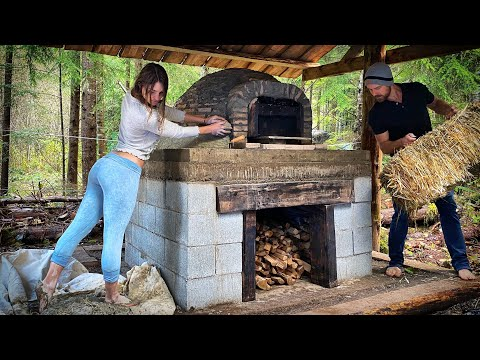 OFF GRID LIVING // WOOD FIRED PIZZA OVEN Day 8 | 1st FIRE to CURE BRICK | Cob Clay w/ Feet - Ep. 110