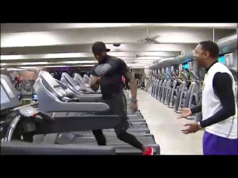 AMAZING TREADMILL WORKOUT: Watch fitness trainer Leo Cort run across six treadmills on live TV